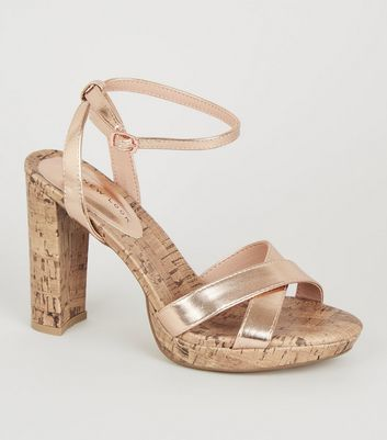 Rose Gold Cork Platform Heels