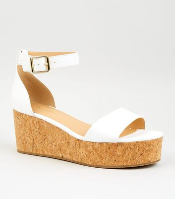 White Leather-Look Cork Flatforms   New
