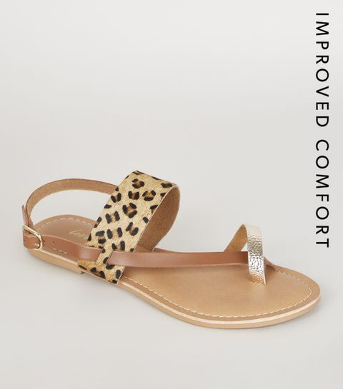a55ddd2e0 ... Stone Leather Faux Leopard Fur Strappy Sandals ...
