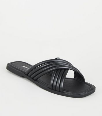 Black Leather-Look Tube Cross Strap Sliders