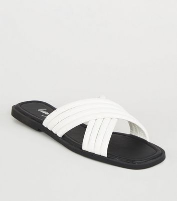 White Leather-Look Tube Cross Strap Sliders