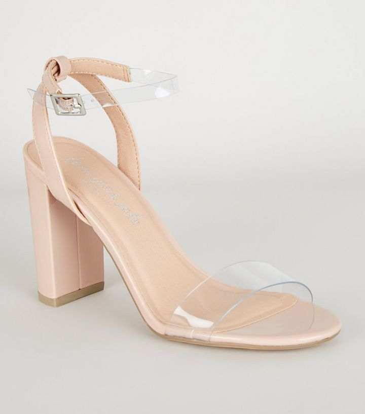 a2072b24206 Nude Patent Clear Strap Block Heels | New Look