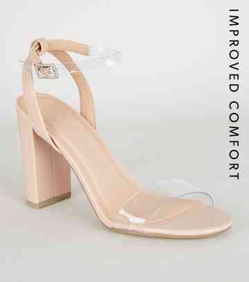 Nude Patent Clear Strap Block Heels