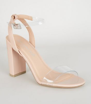 Pale Pink Patent Clear Strap Block