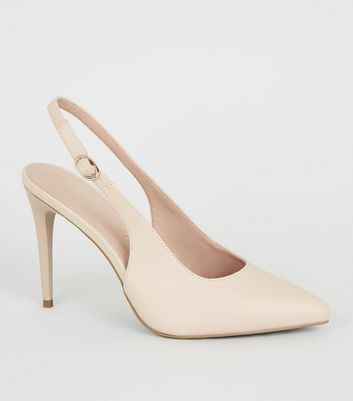 Nude Leather-Look Stiletto Slingbacks