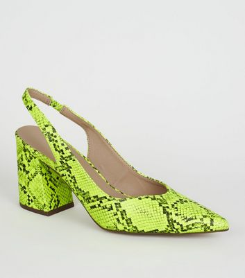 Yellow Neon Faux Snake Slingbacks