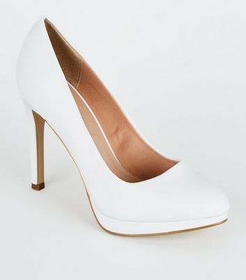 White Leather-Look Platform Court Shoes