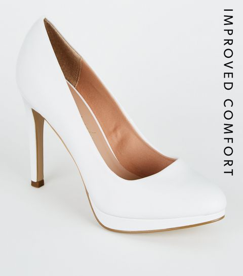 5872731653 White Heels | White Stilettos & White Platform Heels | New Look