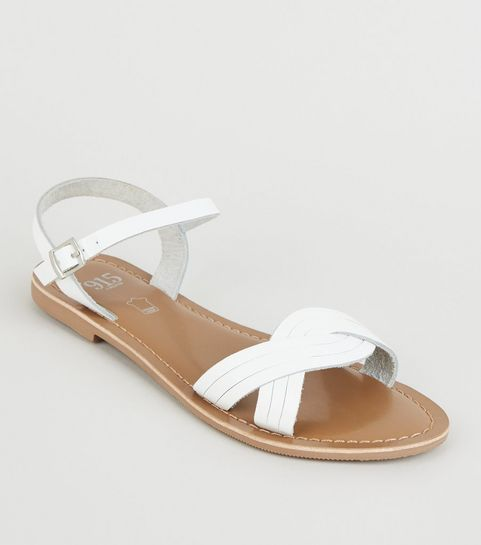 5a8980e89df0 ... Girls White Leather Woven Strap Sandals ...