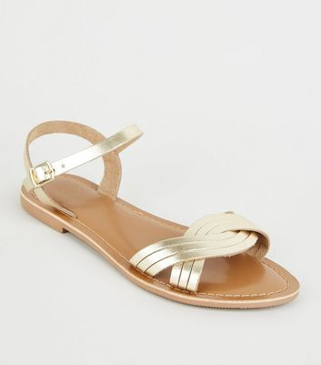Girls Gold Leather Woven Strap Sandals