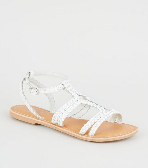 09388d92d710 ... Girls White Leather Plait Strap Sandals ...