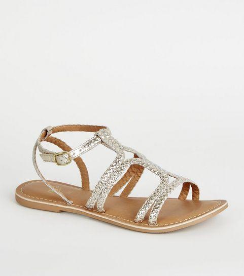 68a7eca28ad1 ... Girls Gold Leather Plait Strap Sandals ...