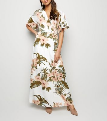 Mela Off White Tropical Floral Maxi Dress