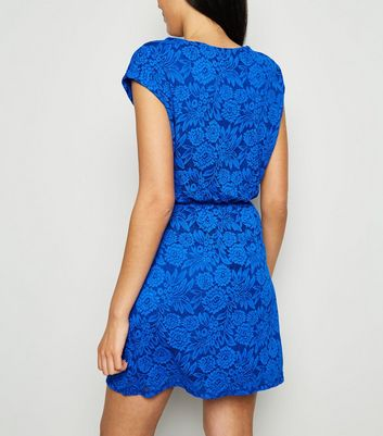 shop for Mela Bright Blue Floral Lace Dress New Look at Shopo
