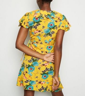 shop for Mela Yellow Floral Frill Trim Wrap Dress New Look at Shopo