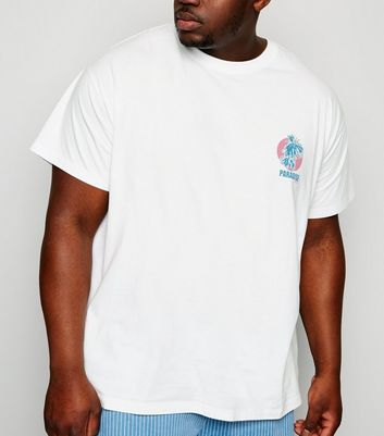 Plus Size White Paradise Express Slogan T-Shirt