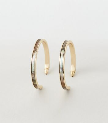 Gold Mother Of Pearl Hoop Earrings