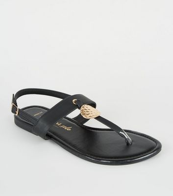 Wide Fit Black Leather-Look Hammered Ring Sandals