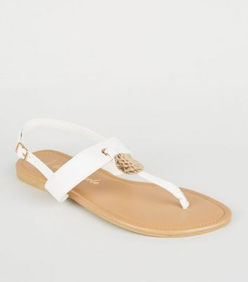 Wide Fit White Leather-Look Hammered Ring Sandals