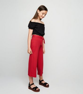 Girls Red Ribbed Culottes