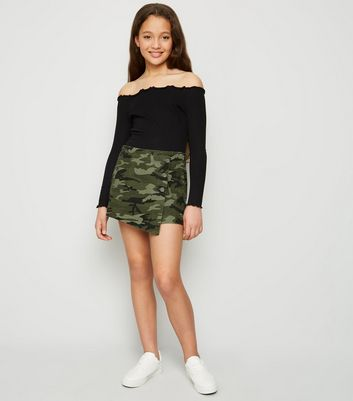 Girls Green Camo Denim Skort