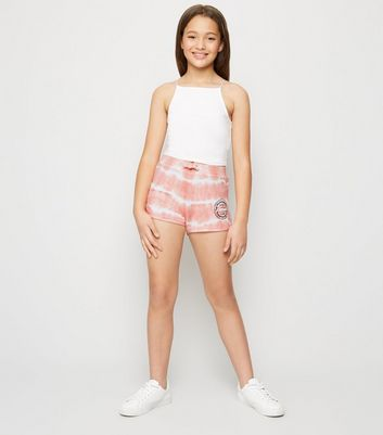 Girls Coral Tie Dye Miami Slogan Shorts