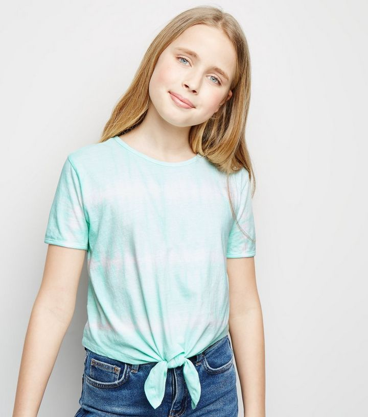 8c2d43a6ab02 Girls Mint Green Tie Dye Knot Front T-Shirt | New Look