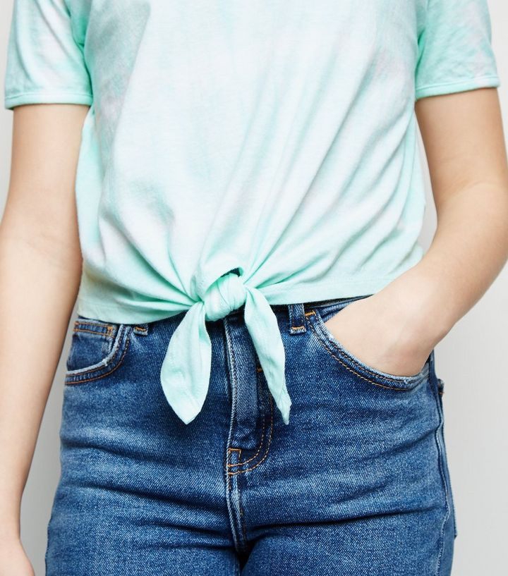 d005588cc5ed ... Girls Mint Green Tie Dye Knot Front T-Shirt. ×. ×. ×. Shop the look