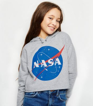 Girls Grey NASA Slogan Print Hoodie