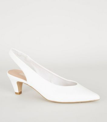 White Leather Pointed Slingback Court Shoes