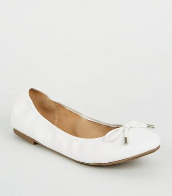 Wide Fit White Leather-Look Ballet Pumps