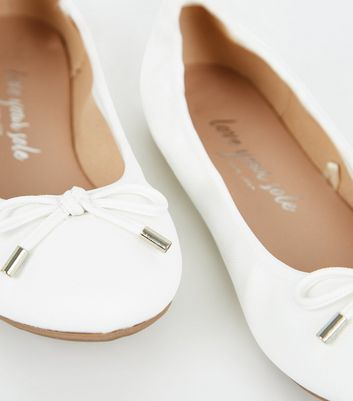Wide Fit White Leather-Look Ballet