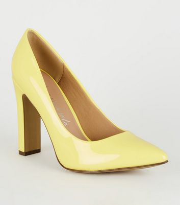 Wide Fit Yellow Pointed Slim Block Heels