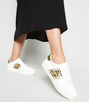 White Leopard Print Leather Stripe