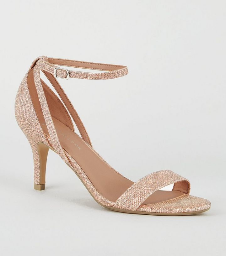 16a890f9f5 Wide Fit Rose Gold Glitter Mid Heel Sandals | New Look