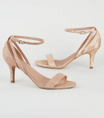 Wide Fit Rose Gold Glitter Mid Heel