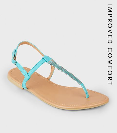 34a6e3b85b2 ... Wide Fit Turquoise Bar Strap Flat Sandals ...