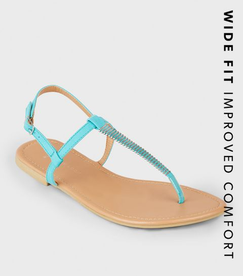 afa381eefbf7 ... Wide Fit Turquoise Bar Strap Flat Sandals ...