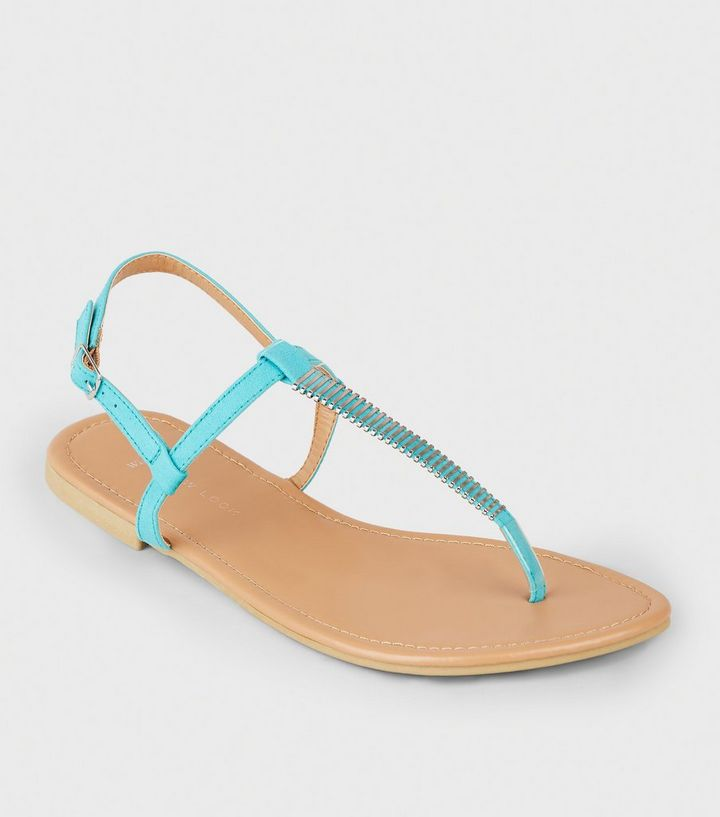 c13c8ab26436 Wide Fit Turquoise Bar Strap Flat Sandals