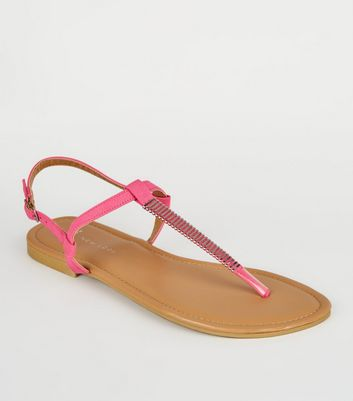 Wide Fit Bright Pink Bar Strap Flat Sandals