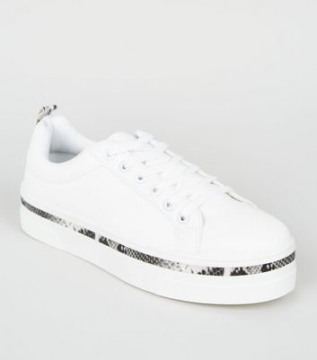 White Faux Snake Trim Lace Up Trainers