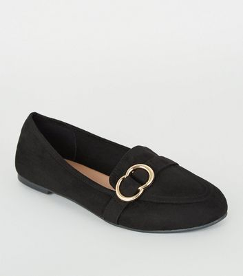 Black Suedette Metal Ring Loafers