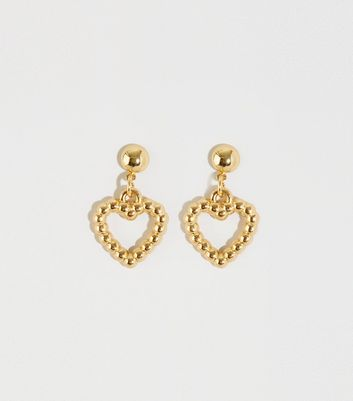 Gold Mini Textured Heart Drop Earrings