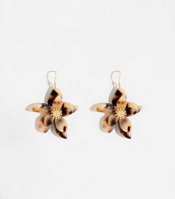 Brown Resin Flower Earrings
