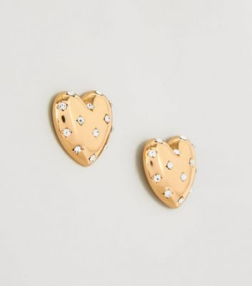 Gold Heart Diamanté Stud Earrings