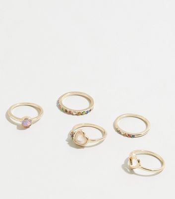 5 Pack Gold Heart Diamanté Rings