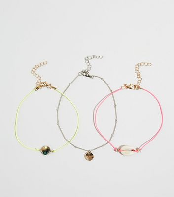 3 Pack Multicoloured Neon Shell Anklets