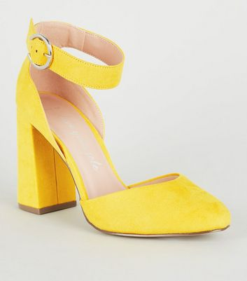 Wide Fit Yellow Flare Block Heels