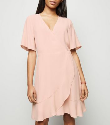 Petite Pink Ruffle Wrap Dress