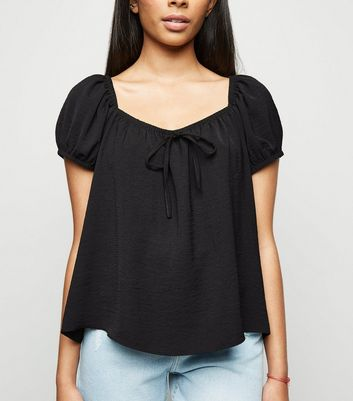 Petite Black Tie Front Square Neck Top